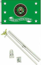 3x5 U.S. Army Served With Pride Flag w/ 6' Ft White Flagpole Flag Pole kit