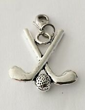 LOVELY PAIR OF 3D SILVER GOLF CLUBS & BALL CLIP ON CHARM  -TIBETIAN SILVER - NEW