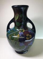Vintage Ivora Gouda Holland Handled Vase Glossy Finish Floral Black Blue