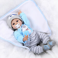 22'' Handmade Lifelike Boy Girl Baby Silicone Vinyl Newborn Dolls +Clothes Blue