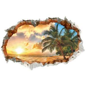 3D Wandtattoo Wandaufkleber Palmen am Meer Strand Sonnenuntergang (1483)