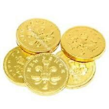 50 x2p large gold milk chocolate coins 40mm4cm wide ideal pirate party favours