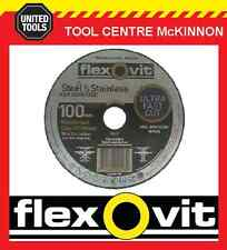 "100 x FLEXOVIT 100mm / 4"" MEGA-LINE ULTRA THIN METAL CUT-OFF WHEEL"