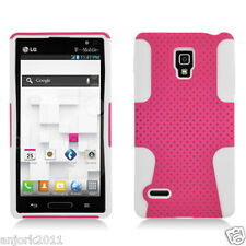 LG Optimus L9 P769 T-Mobile Mesh Hybrid Case Skin Cover Pink White