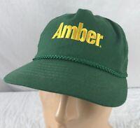 Vtg Amber Hat Cap Strapback Green 80's 90's USA