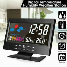 LED Digital Alarm Clock Snooze Calendar Thermometer Weather Large LCD Display UK