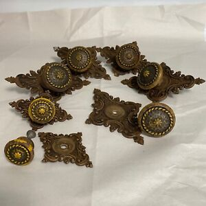 ANTIQUE WOOD DRAWER KNOBS w/ORNATE WOOD BACK PLATES ARCHITECTURAL PIECES