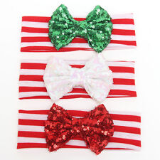 3PCS Girls Toddler Baby Sequined Bow Elastic Headband Red Green White Christmas