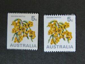 1970 1973 5c Coil Golden Wattle White and Cream Paper SG 467, 467a ASC 503 MUH
