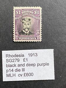 Rhodesia  1913 SG 279 £1 KGV admiral MH stamp