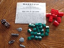 1961 Monopoly Metal Monopoly Playing Pieces Tokens, Dice, Hotels & Houses