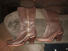Timberland brown Leather tall women's Boots 7.5 Zippers Heels Rubber Soles 98366