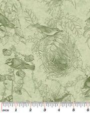 Fat Quarter Birds of Feather Green Quilting Fabric - Benartex