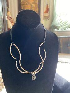 Lizzy James Girlfriend Silver Wrap Bracelet / Necklace Black Leather