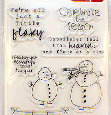 Jillibean Soup Christmas Snowman Hampton Art Clear Cling Rubber Stamp Pack Set