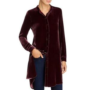 Eileen Fisher Womens Velvet Shirt Button-Down Top Tunic Petites BHFO 3563