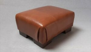 Footstool / Small Stool / Vintage real tan leather/ Brown   (CODE TAN 10)