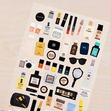 Cosmetics Makeup Beauty Lipstick Deco Stickers, Kawaii Scrapbook Planner Sticker
