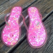 Lilly Pulitzer Fish Shell Floral Jelly Flip Flops Sz 9 Sandals Shoes Pink Yellow