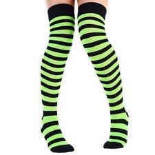 Ladies Colourful Full Stripe Over Knee Socks UK Size 4-6.5 Black With Neon Green Stripes