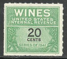 U.S. Revenue Wine stamp scott re130 - 20 cent issue of 1942 - mngai