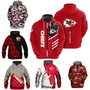 Kansas City Chiefs Hoodie Football Pullover Sweatshirt Casual Hooded Jacket Gift