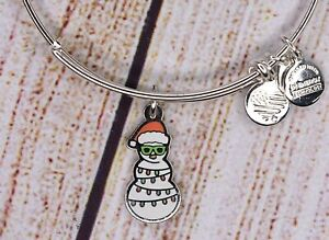 Alex and Ani Color Infused Holiday Snowman Charm Bangle Silver Bracelet