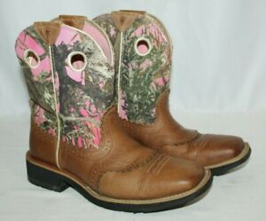 Ariat Fatbaby Brown Leather Pink Camo Western Cowboy Boots 10007977 Size 8B GUC