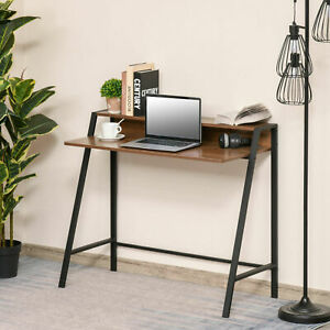 2-Tier Workstation Computer Laptop Desk Table with Storage Shelf Black Grey