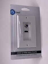 Onn Coax & HDMI Wall Mount Plate Compatible With HD Video 1080P White