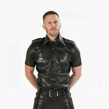 Men's Real Black Leather Schwarz Police Shirt Cuir Lederhemd Military Gay Police