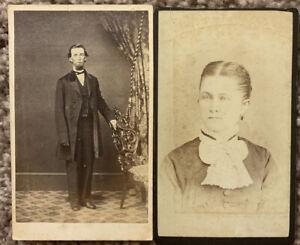 2 Vintage Cabinet Card Photos Carlisle PA 1 Woman &1 Man 3 1/2x 2 1/2 Very Cool