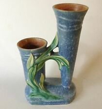 htf ROSEVILLE Blue VELMOSS II Double Bud Vase 116-8 Art Pottery USA Ca 1935 htf