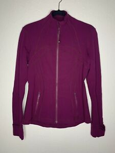 Lululemon Define Jacket Size 8 Marvel Berry Burgundy Full Zip Luon w Thumbholes