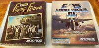 2 CIB Big Box DOS IBM PC Games Lot B-17 Flying Fortress & F-15 Strike Eagle III
