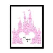 FP1036 Unusual Disney Princess Gifts – Castle A4 Print Personalised Word Art