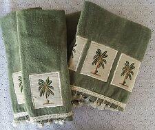 Avanti 4 Piece Bath Towel Set Palm Trees Decorative Tassel Bath Hand Green