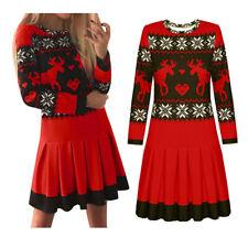 Women Christmas O-Neck Print Sweater Dress Long Sleeve Snowflake Pleated Dress