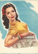 "RARE OLD ORIGINAL 1920'S SENORITA PINUP ""MEXICANA"" MEXICAN LITHOGRAPH ART PRINT"