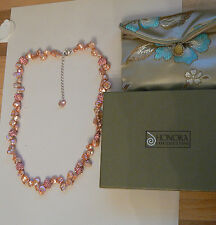 Honora 10-11mm  Keshi Pearl & Crystal Petal 45cm Necklace pink new boxed