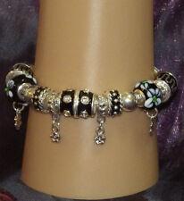 New 925 Sterling Silver Filled and Black Enamel Fashion Charm Bracelet