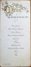 MENU - French 1909: Filets de Boeuf a l'Anglaise, Potage Tapioca, Wine, Coffee