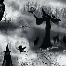 Wicked Fog - Grey Witch - Halloween Fabric Material