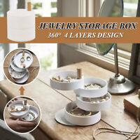 4 Layers 360° Jewelry Box Rotating Storage Box Ring Necklaces Bracelet Organizer