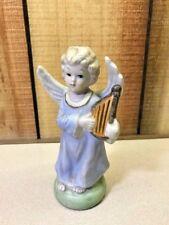 "Porcelain angel statue/figure with harp 5.5"""