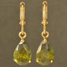 Fashion jewelry yellow Gold Filled Water Drop Green CZ womens Dangle Earrings