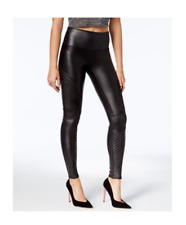 SPANX Faux Leather Tummy Control Moto Leggings, Very Black, M, NWT