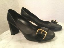 605a5f66854d Louis Vuitton Uniformes Black Leather Gold Buckle Front High Heel Shoes US  Sz 7M