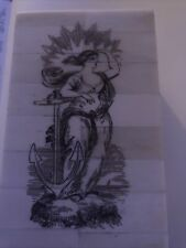 Scrimshaw Etched Bone & Wood Trinket Jewelry Box Naval Lady Liberty