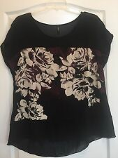 Edista Sz 1X Black/Beige/Purple Floral Print Hi -Low Top W/ Short Sleeves!!